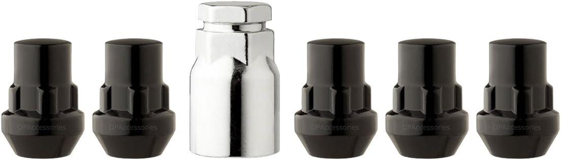 4 Locking Lug Nuts//Wheel Locks Closed Bulge Acorn//Cone Seat Black 1//2-20 4