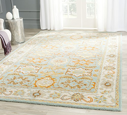 (Safavieh Heritage Collection HG734A Handcrafted Traditional Oriental Light Blue and Ivory Wool Area Rug (7'6