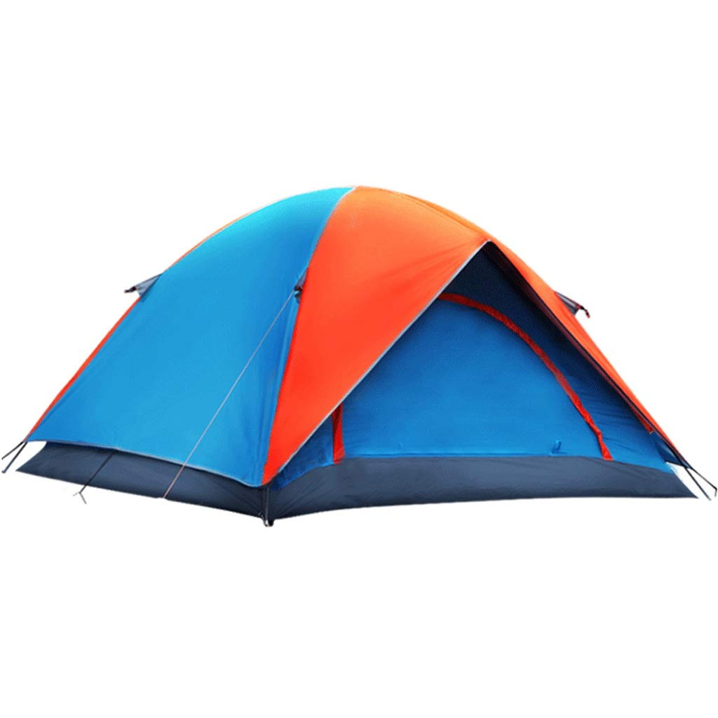 防水テント屋外3-4人家族キャンプテントダブルレイヤー  オレンジ B07P3HG7Z5