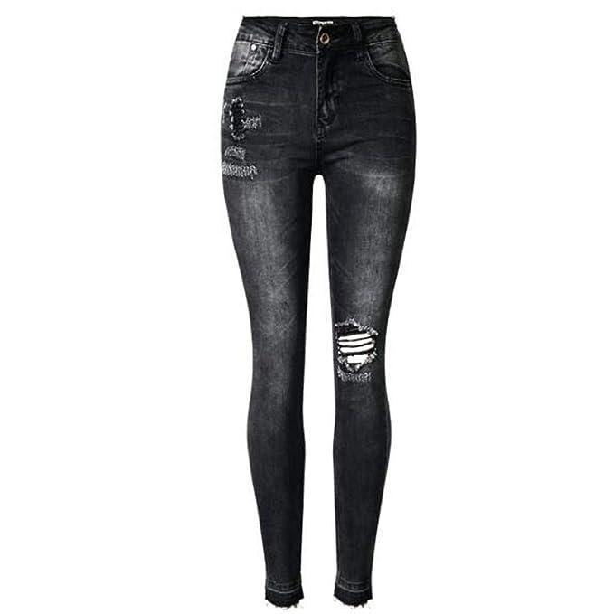 Targogo Pantalones Vaqueros para Mujer Gris Negro Pantalones ...
