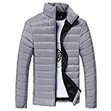morecome Men Warm Stand Collar Slim Winter Zip Outerwear Jacket (L, Gray)