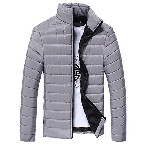 morecome Men Warm Stand Collar Slim Winter Zip Outerwear Jacket (L, Gray) by morecome
