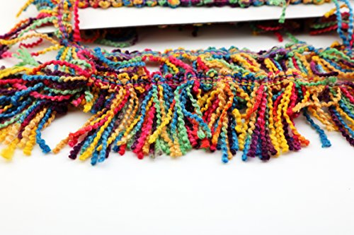 Marsha Q Embroidered Boho Wooden Beaded Fringe Trim Tassels Multicolor Ribbon 2 Yard for Sewing Crafts Applique Design Decorating Embroidery Clothing Accessories Bedding Curtains Paper Craft