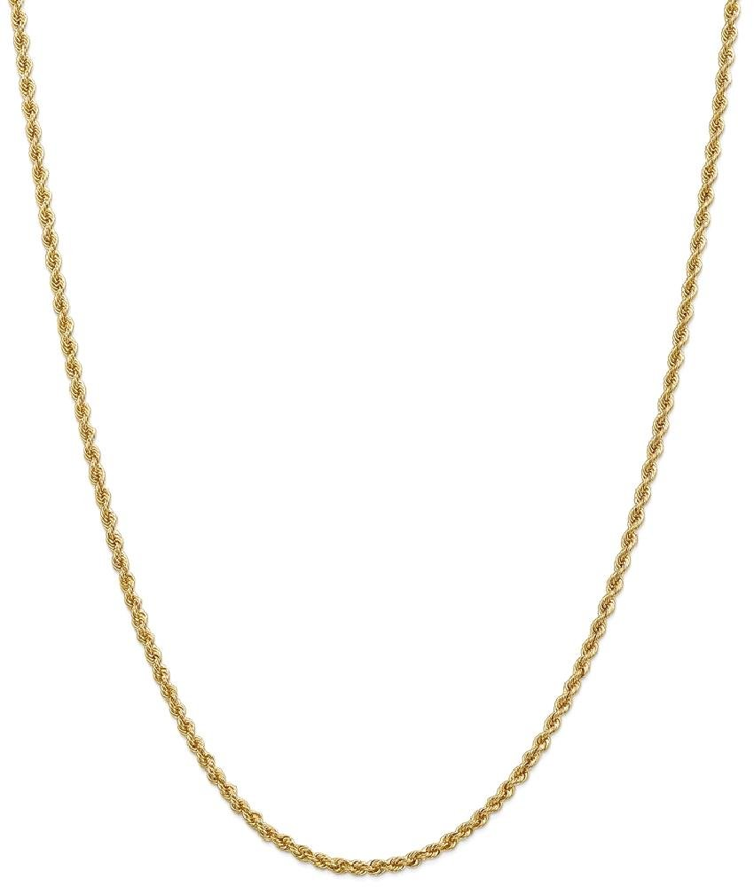ICE CARATS 14k Yellow Gold 2.5mm Handmade Link Rope Chain Necklace 22 Inch Fine Jewelry Gift Set For Women Heart