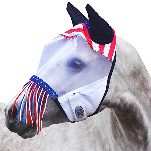 Derby Originals Reflective Trim Patriotic Fly Mask with Ears & Fringes and One Year Warranty (Reflective Horse Tack)