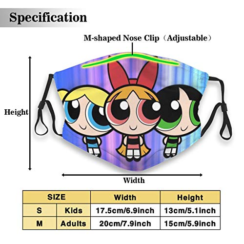 NA PM2.5 Powerpuff Girls Masks with Filter Reusable Activated Carbon Dust Face Mouth Mask Anti-Pollution Safety Adjustable Mask for Mans Women Children (1 Mask + 2 Filters)