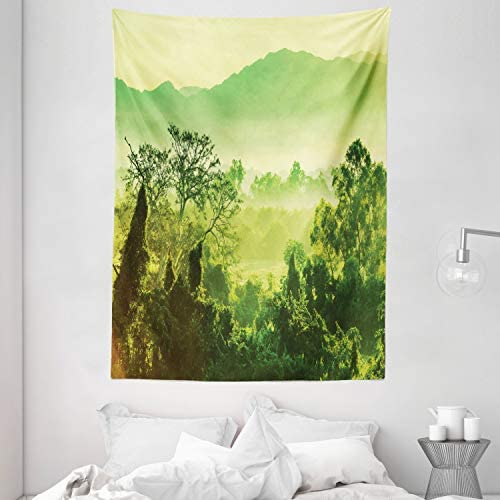 Ambesonne Landscape Tapestry, Nature Scene in Green Tones with Mountains and Trees, Wall Hanging for Bedroom Living Room Dorm, 60 X 80 , Lime Green Yellow Green Fern Green