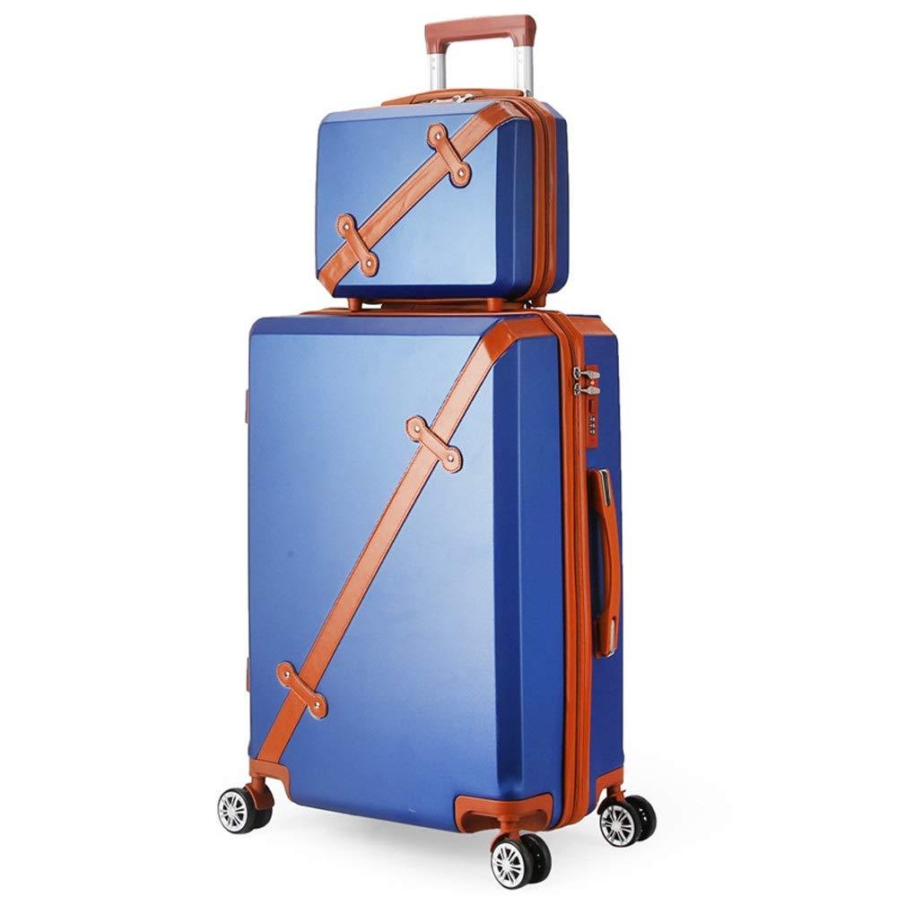スーツケース ポータブル回転セットライトとロックハードシェル旅行荷物トロリーケース列サイレントローテーター多方向航空機搭乗 圧縮服スーツケース (色 : 青, サイズ : 20in+14in) B07SZTC7G9 青 20in+14in