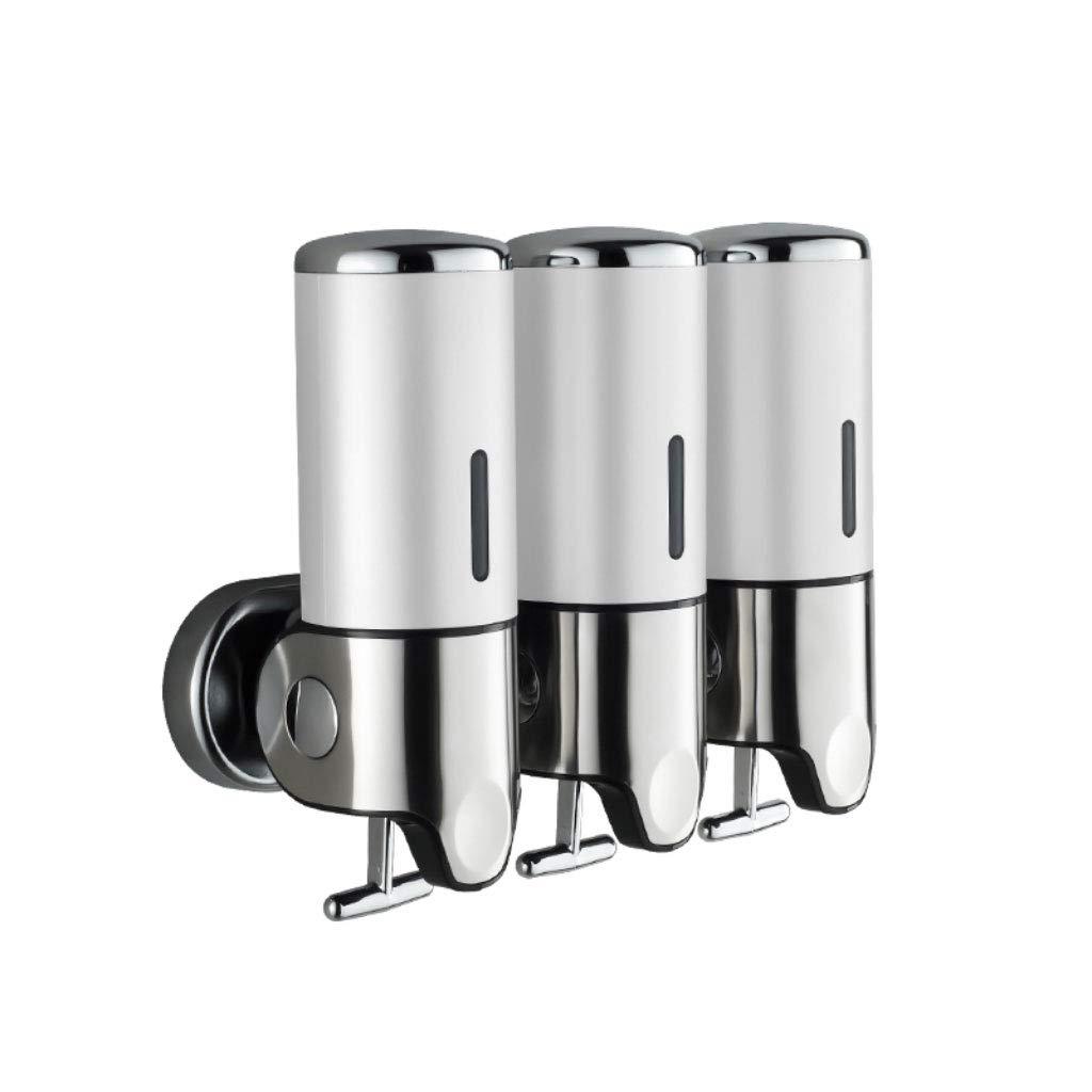 3 Bottles 500 ml Bathroom Shower Liquid Soap Shampoo Gel Dispenser Pump Wall Mounted Soap Dispenser (Color : White)