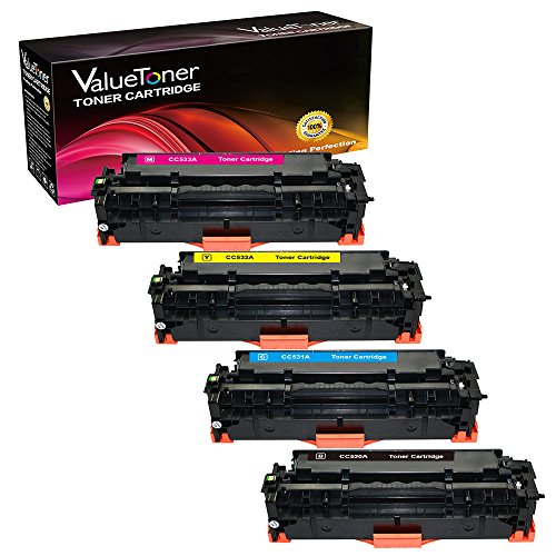 ValueToner Compatible Toner Cartridge Replacement for Hewlett Packard HP 304A (1 Black, 1 Cyan, 1 Magenta, 1 Yellow) 4 Pack CC530A CC531A CC532A CC533A Compatible With Color LaserJet CM2320fxi MFP, CM2320n MFP, CM2320nf MFP, CP2020 Series, CP2025, CP2025d