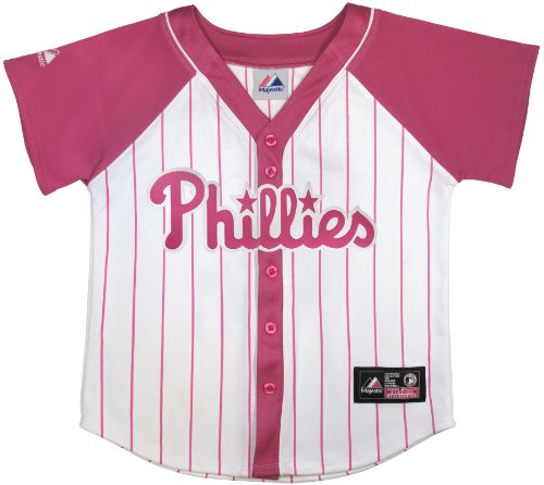 MLB Philadelphia Phillies Chase Utley #26 Girls Jersey By Majestic ,WHITE/ VF EXTREME PINK, MEDIUM