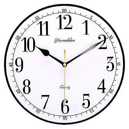 Y Hui 11 Inch Wall Clock Wood Table Quartz Clocks Living Room Silent