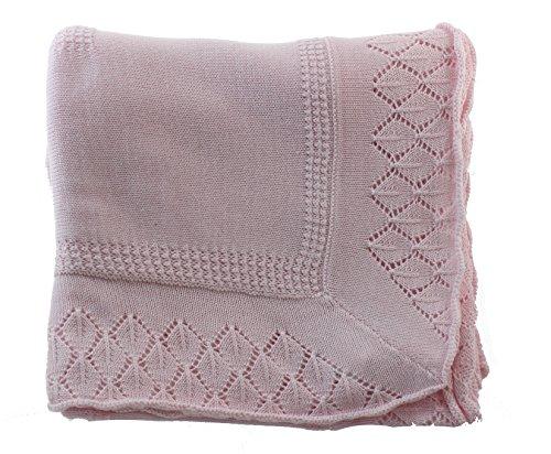 Girls Pink Baby Receiving Blanket Knit Shawl | Sarah Louise Baby Gifts by Sarah Louise