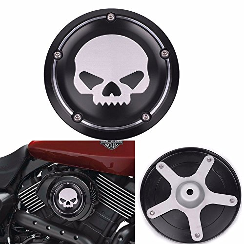 Frenshion Black Skull Motorcycle Deep Cut CNC Cover Air Filter Cover Aluminum Decorative Accessories For Harley Street XG500 750 2015 2016 ()