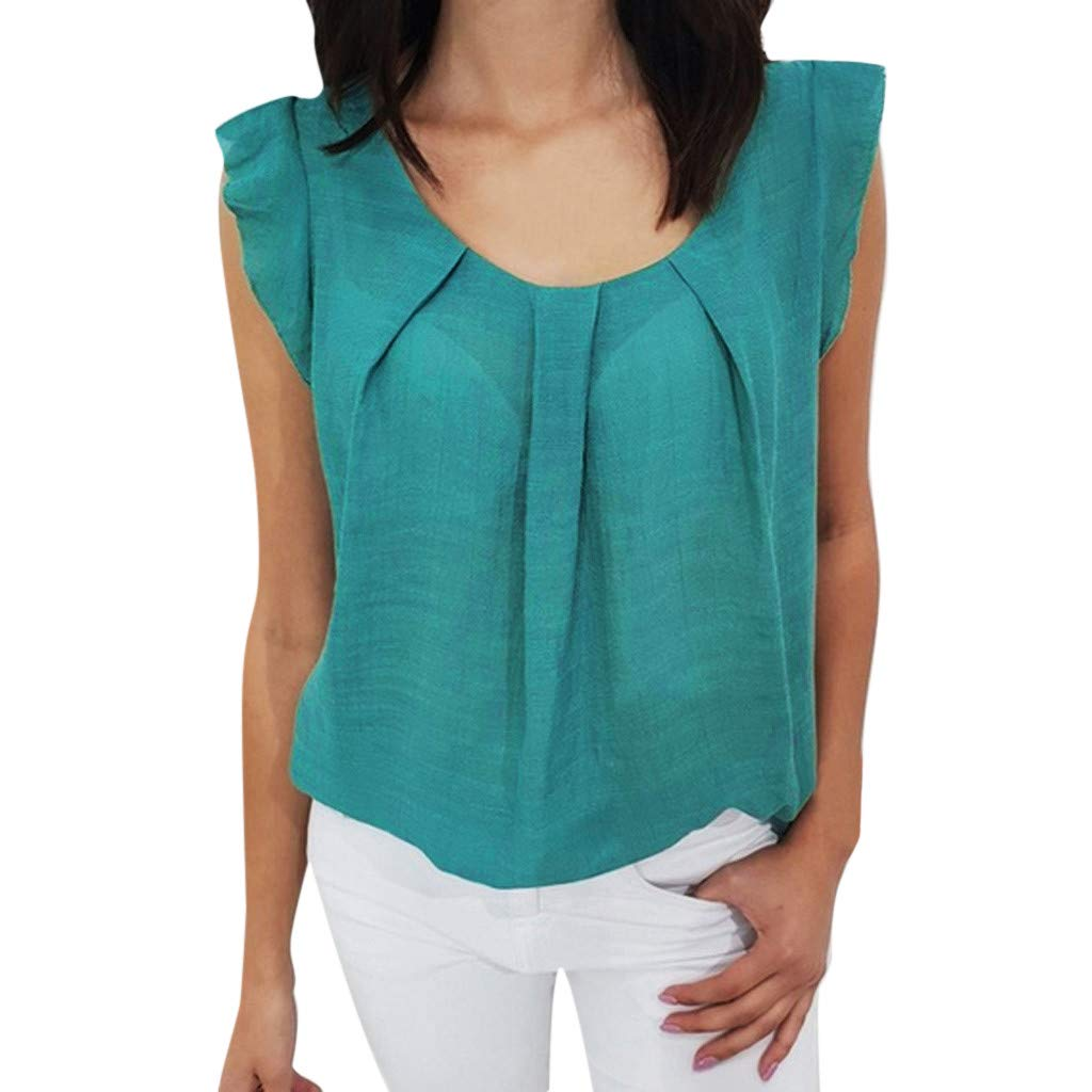 2019 Women Summer Sexy Ruffle Sleeveless Vest O- Neck Solid Chiffon Blouse Casual Loose T-Shirt Tank Tops S-2XL (Green, XXL)