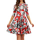 WOCACHI Final Clear Out Christmas Dresses Womens Knee Length Cat Evening Party Half Sleeve Dress Swing Santa Claus A Line Snow Bells Reindeer Xmas Prom Costume Maxi Mini (Red_b, X-Large)