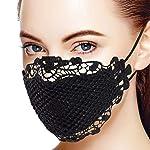 Bumplebee-Damen-Mundschutz-Waschbar-Schwarz-Spitze-Winddicht-Mehrweg-Halstuch-Bandana-Atmungsaktiv-Staubdichte-Multifunktionstuch-Mund-Nasenschutz-Stoff