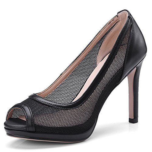- DecoStain Women's Fashion Mesh Peep Toe High Heel Platform Pumps Party Work Shoes
