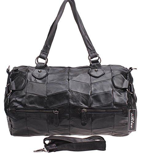 Iblue Womens Lambskin Tote Handbag Crossbody Shoulder Handbag Medium 16 Inch #9079 ()