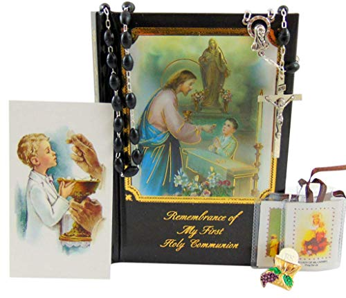 Westman Works First Holy Communion Complete Set for Boys Prayer Book in a Plastic Cover with Rosary Holy Card and Scapular