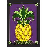 Magnolia Garden Friendship Pineapple Fleur de Lis on Purple 42 x 29 Rectangular Double Applique Large House Flag
