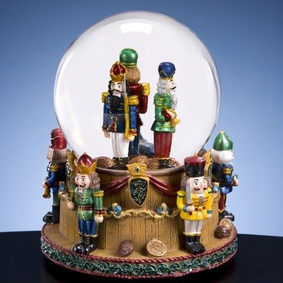 Francisco Glass Music Box (The San Francisco Music Box Company Christmas Nutcracker Soldiers Snow)