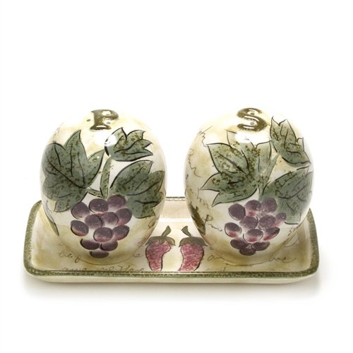 Sorrento by Tabletops Unlimited, Ceramic Salt & Pepper, Tray