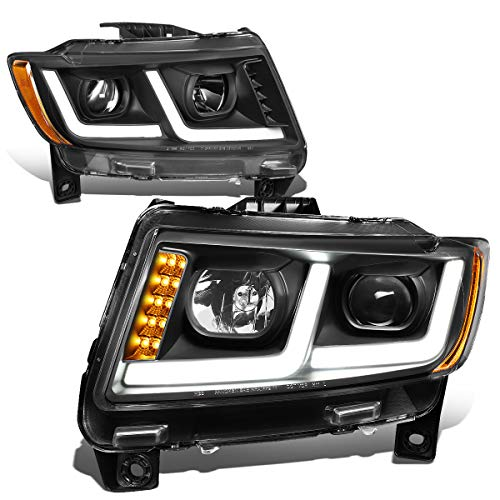 For 11-13 Jeep Grand Cherokee Black Housing Amber Corner LED DRL Projector Headlight/Lamps