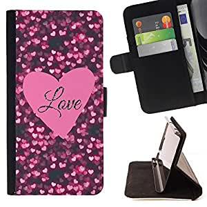 For LG G2 D800 Heart Text Pink Black Sparkle Beautiful Print Wallet Leather Case Cover With Credit Card Slots And Stand Function