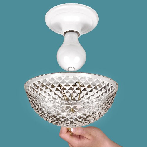Clip-on Light Shade - Diamond Cut Acrylic Dome Lightbulb Fix