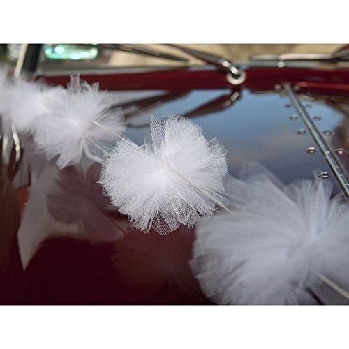 D/écoration voiture guirlande de pompons en tulle x3