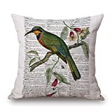 "Happy Cool Cotton Linen Square Bird Printed Decorative Throw Pillow Cushion Cover with Insert 18""x 18"" Bird-25"