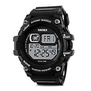 Aposon Mens Watch Sport Military LED Watch Digital Big Numeral Alarm Wrist Watch Unique Fashion PU Band Army Watch Athletic Cheap Dress Watch on Sale 50M Waterproof -Black