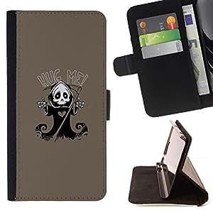 Momo Phone Case / Flip Funda de Cuero Case Cover - Carino Grim Reaper Skeleton - Hug Me - Sony Xperia Z1 L39