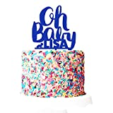 P Lab Personalized Oh Baby! Welcome Baby Party Baby Shower Cake Topper Acrylic Decoration for Special Event Royal Blue