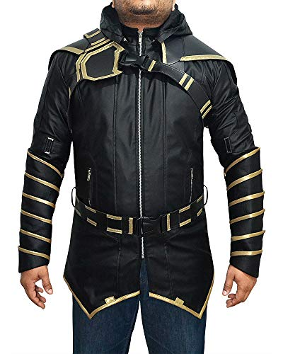Superhero Hawk Hooded Eye Leather Jacket Costume Coat (XXX-Large, Faux Leather Coat) -