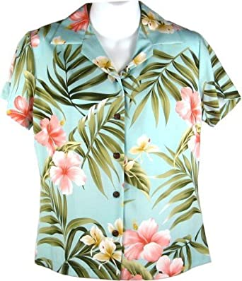 95922954 Hibiscus and Orchids Hawaiian Shirts - Womens Hawaiian Shirts - Aloha Shirt  - Hawaiian Clothing -