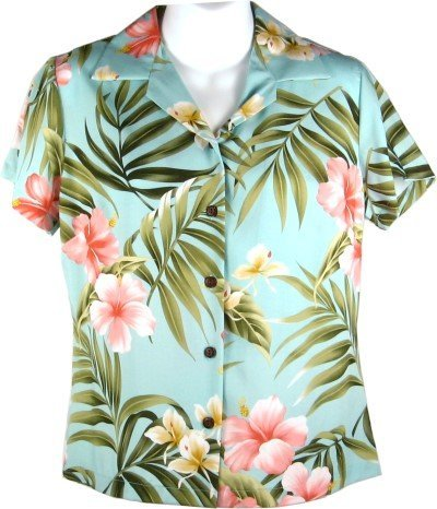 e1b0b159f27fce Hibiscus and Orchids Hawaiian Shirts - Womens Hawaiian Shirts - Aloha Shirt  - Hawaiian Clothing - 100% Rayon Aqua 2XL at Amazon Women s Clothing store   ...