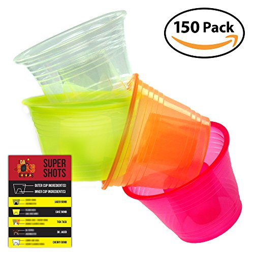Da Bomb Cups 150 Pack Disposable Jager Bomb Cups. Measure Two Part Bomber Shot Glasses for Great Taste Every Time! Throw a Great Party with Recipe Card & 4 Colors - Measure For How Glasses To