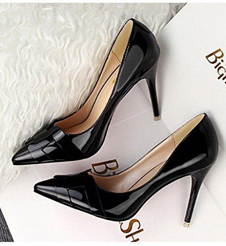 Heel Trabajo High Primavera Stiletto Tac Shoes Minetom Zapatos Atractivo de Charol Mujer Pumps W5z8nqXYw