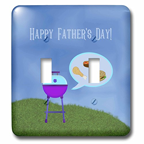 3dRose Beverly Turner Fathers Day Design - Barbecue Grill Thinking about Hot dogs, Chicken Drumstick, and Hamburger - Light Switch Covers - double toggle switch (lsp_280576_2)
