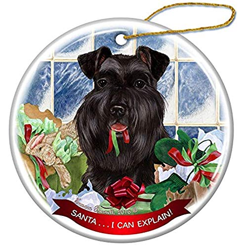Cheyan Black Uncropped Schnauzer Dog Porcelain Hanging Ornament Pet Gift Santa I Can Explain for Christmas Tree and Year Round