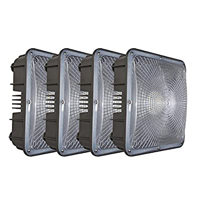 Ccclighting LED Canopy Light Outdoor 60W 5000K Daylight Nature White 6000Lumens Security Waterproof IP65 UL&DLC Listed Close To Ceiling Light Fixtures for Gas station Warehouse Store Set of 4