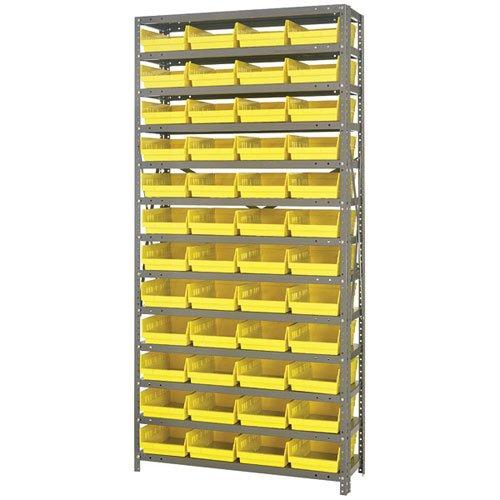 Economy Shelf Bin Storage Units Bin Dimensions: 4'' H x 8 3/8'' W x 11 5/8'' D (qty. 48), Bin Color: Yellow
