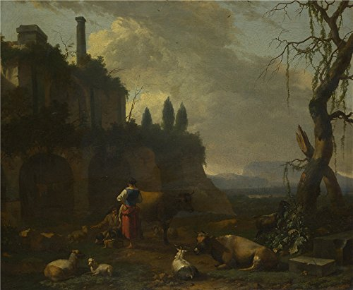 The High Quality Polyster Canvas Of Oil Painting 'Abraham Begeijn Peasants With Cattle By A Ruin ' ,size: 8 X 10 Inch / 20 X 25 Cm ,this Cheap But High Quality Art Decorative Art Decorative Prints On Canvas Is Fit For Dining Room Decoration And Home Artwork And Gifts