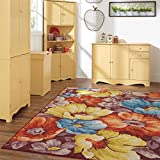 Brylanehome Large Fiore Floral Rug (Multi,8'W X 10'L)