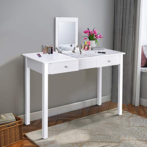 Giantex Vanity Table with Flip Top Mirror, Makeup Dressing Table Writing Desk with 2 Drawers and Removable Organizer 9 Compartments, Bedroom Vanity Table for Girls Women, Easy Assembly, White