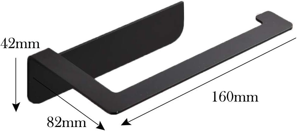 Hoomtaook Portarrollo para Papel Higi/énico Ducha Aluminio Montado En La Pared Ba/ño Accesorios Negro