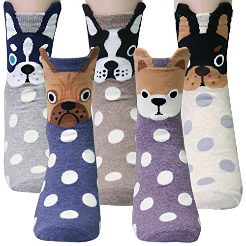 KONY Women's Girls Funny Crew Novelty Socks with Dogs Cats Owls Giraffe Cute Animals Printed Colorful Pattern (Dot Dogs with Ear- 5 pairs) (Gift For Christmas Teenage Girl Best)