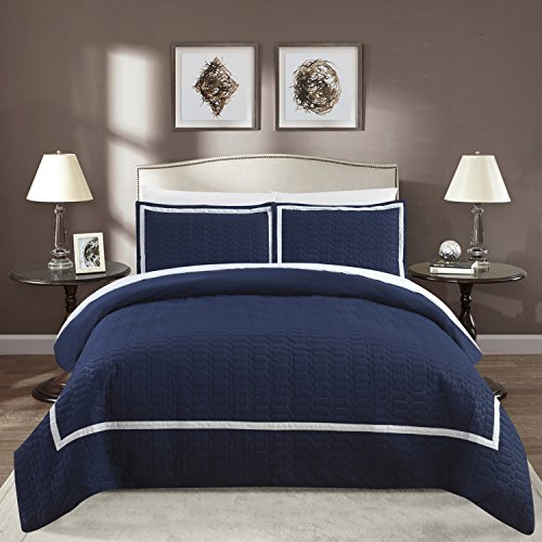 Chic Home Faige 5 Piece Duvet Cover Set Hotel Collection Two Tone Banded Print Zipper Closure Bed in a Bag Bedding - Sheets Decorative Pillow Sham Included, Twin Navy ()